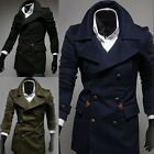 1X Vintage Man's Casual Woolen Double Breasted Slims Pockets Peacoat Jacket Coat