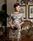 NEW Elegant Silk Dress Short Sleeve Embroidered Silk Dress Evening Dress #3231B