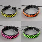 New Unisex Womens Mens PU Leather Fluorescent Color Lattice Bracelet Wrist Chain