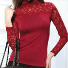 Womens Lace Cotton Blouses Splicing Long Sleeve Slim Tops Turtle/Crew Neck  [JG]
