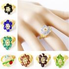 5 Pcs Wholesale Lots mix Artificial Crystal stone Handmade Colorful Flower Rings