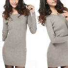 "Women""s Slim Crew Neck Long Section Wool Knit Shirt Long Sleeve Sweaters  [JG]"