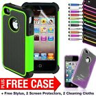 NEW STYLISH SHOCK PROOF SERIES CASE COVER FOR IPHONE 4 4S FREE SCREEN PROTECTOR