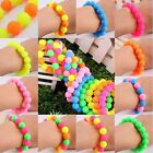 Round Silicone Rubber Beads Stretchy Cuff Bracelet Bangle Wrist Band Wristbands