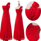 Elegant One shoulder Women's Bridesmaid Evening Dresses Prom Gown Long Dress Red