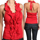 MOGAN Ruffled Strapless Bandeau Ruched JERSEY BLOUSE Sexy Cocktail Club Tube Top