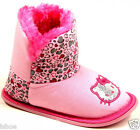 KIDS GIRLS HELLO KITTY PINK FAUX FUR SNUG HEART BOOTIES SLIPPERS SIZE 6-12 NEW