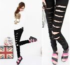 Womens Fashion Black Cut-out Punk Ripped Jeans Jeggings Trousers Pencil Pants