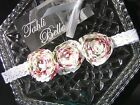 TAHLI BELLE Baby Girls White Christening Christmas Lace Rosette Flower Headband