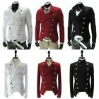 Stylish Mens Man's Rider Double-breasted Military Short Jacket Coat Black Red...