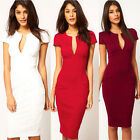 Womens Sexy Deep V neck bodycon Business Party OL Work Pencil Cocktail Dress