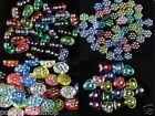 50 pcs assorted acrylic beads with silver spots, transparent*
