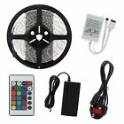 5M SMD 5050 RGB 150/300/600 LED Strip Lights IR Remote UK Adapter Waterproof Kit