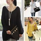 Women Batwing Knit Sweater V-Neck Long Sleeve Oversized Loose Jumper Pullover