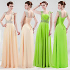 Charming Chiffon Cap Sleeve Formal Prom Party Bridesmaid Evening Dress Size 6-20