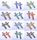 1pcs Crystal Silver Curved Side Ways Cross Findings Beads Jewelry Connectors
