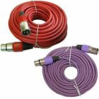 Pair 2 mixed color balanced shielded 3pin XLR mic microphone audio cables cords