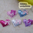 Heart With Bow Sequin Appliques Padded Craft Sewing Scrapbooking Color Choice