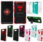 RUGGED TRI-SHIELD RUBBER SKIN HARD CASE STAND FOR MOTOROLA DROID MAXX & ULTRA