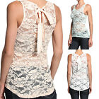 MOGAN Tie Back FLORAL LACE TANK Basic Sexy Sleeveless Solid Fitted Sheer Top