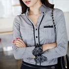 Womens Slim Long Sleeve Top Blouse OL Career Lace Cuff Button Down Shirt  [JG]