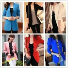 Candy Color New Elegant Lady Jacket Blazer Sleeve Suit Coat Tops 4Sizes 6 Colors