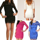 Sexy Women Lace Bodycon Dress 3/4 Sleeve Slash Neck Cocktail Evening Dress