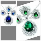 18KGP water pear drop double round cz CRYSTAL pendant necklace earrings ring set