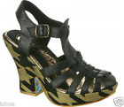 IRREGULAR CHOICE MUMBA LEATHER PLATFORM BUCKLE STRAP BLOCK HEEL SHOES SIZE 2-10