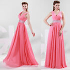 Stock Sexy V Bridesmaid Chiffon Evening Party Formal Prom Ball Gown Long Dresses