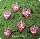 1 x 4.5in Handmade Scottish Red Tartan Cotton fabric, Christmas Heart Decoration