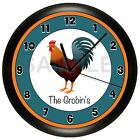 ROOSTER WALL CLOCK COUNTRY KITCHEN PERSONALIZED FARM HOUSE CHICKEN DECOR