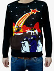 Christmas Xmas Jesus JUMPER vtg indie retro 80's ugly nativity festive black