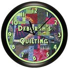 QUILTING WALL CLOCK SEWING ROOM DECOR GIFT QUILTER STITCH CUSTOM PERSONALIZED