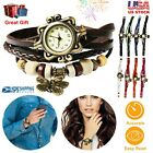 Women's Ladies Fashion Boho-Chic Handmade Leather Bracelet Watch Butterfly Gift image
