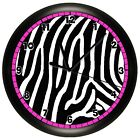BLACK AND HOT PINK ZEBRA PRINT WALL CLOCK GIRLS BEDROOM DECOR ANIMAL GIFT