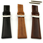 Two Piece Mens Genuine Leather Watch Strap Band 18 20 22 SS Buckle Cavalier MM