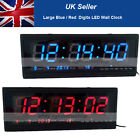 Modern Digital Large Big Jumbo LED Blue Red Wall Desk Clock w/ Calendar Temp New
