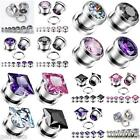 Pair Stainless Steel Round & Square CZ Gem Screw Ear Plugs Tunnels Earlets Gauge