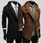 Fashion Men's Korean Style Slim Fit Breasted Hooded Coat Jackets Tops Size S~XL