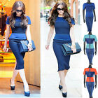Women Celebrity Style Patched Lady Bodycon Fitted Tunic Party Midi Pencil Dress