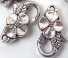 25x14mm Antique Silver Pewter Flower Lobster Claw Clasps (5)
