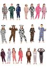 KIDS ONESIE GIRLS BOYS TODDLER ALL IN ONE JUMPSUIT SOFT FLEECE PYJAMAS AGES 3-13