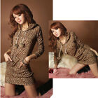 Sexy Womens Leopard Print Hoodie Mini Dress Long Sleeve Pullover Top T Shirt