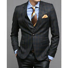New for mens Premium Dress 1-BUTTON SUITS NAVY CHECK 34R size 3piece set -656
