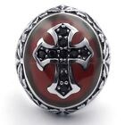 Men's 316L Stainless Steel Titanium Huge Antique Red Cross Knight Ring M073307