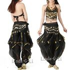 Belly Dance Costume Set 3 Pics Top+ Gold Wavy Pants Bloomers & Hip Scarf