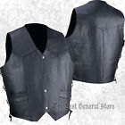 Mens Black Solid Cowhide Leather Vest with Side Laces Western Style Yoke