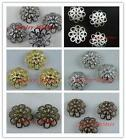 Gold/Silver etc. Double Flower Bead Caps 9mm/12mm/16mm S25-S40