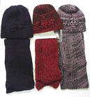 Ladies Hat and Scarf Set Soft Woollen Knitted  Fuchsia, Pink & Purple 90756